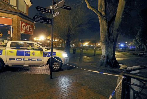 The scene in Salibury where Sergei Skripal was found, suspectedly poisoned. Picture: AP