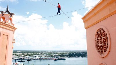 Twenty-six stories high in the Bahamas in August 2010. It was this walk that earned him a Guiness World Record. (Getty Images)