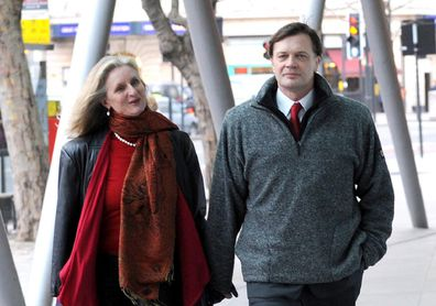 Andrew Wakefield (right) arrives with wife Carmen Wakefield to make a statement at the General Medical Council headquarters in London before their divorce.