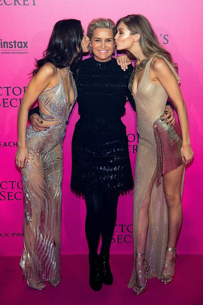 Yolanda Hadid with daughters Gigi and Bella at the 2016 Victoria's Secret Fashion show in Paris