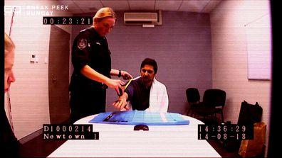 Blake Davis during police interrogation.