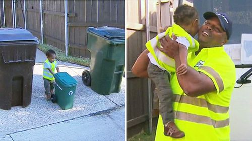 Toddler greets garbage man idol with tiny recycling bin