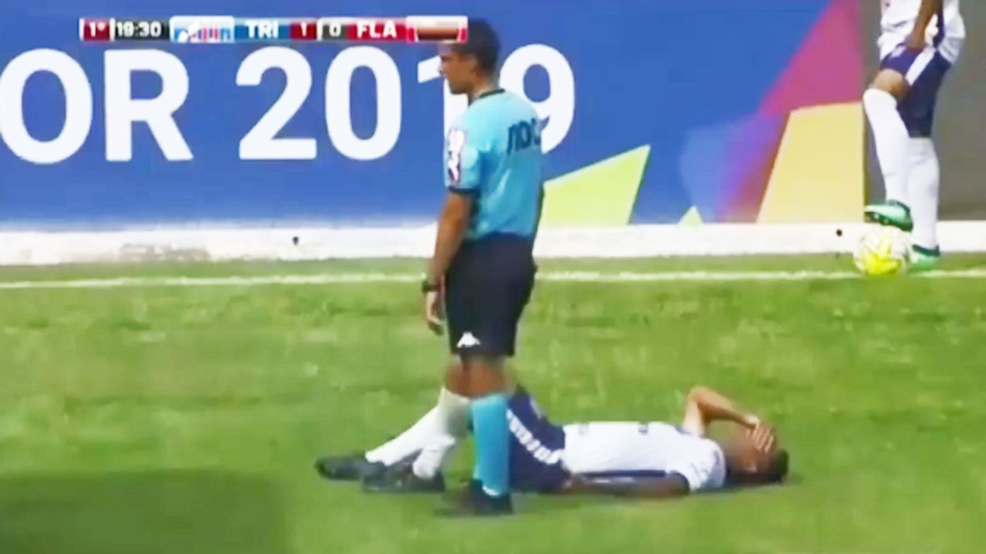 Brazil youth player's foot squashed by medical cart as he lays injured