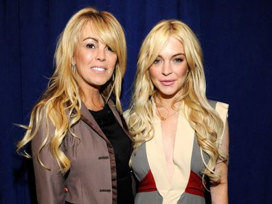 Dina Lohan and Lindsay Lohan attend the Gotti: Three Generations press conference at Sheraton New York Hotel & Towers, Central Park West Room on April 12, 2011 in New York City.