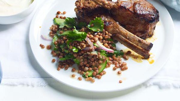 Tandoori-style lamb with red lentils, coriander and cucumber