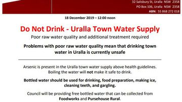 Uralla Council statement on drinking water.