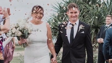 Tim Thompson and wife Katie on their wedding day earlier this year.