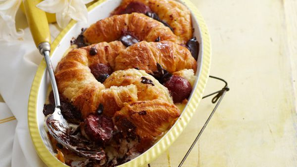 Chocolate croissant and plum pudding
