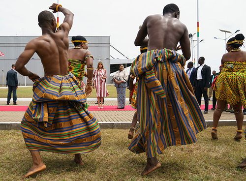 Dancers greet US First Lady Melania Trump at Kotoka International Airport in Accra, Ghana.