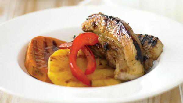 Barbecue pork with kumara and pineapple