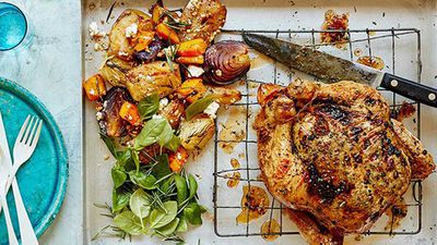 "<a href=""http://kitchen.nine.com.au/2016/08/10/11/54/dan-churchills-roast-chicken-and-fruity-sides"" target=""_top"">Dan Churchill's roast chicken</a>recipe"