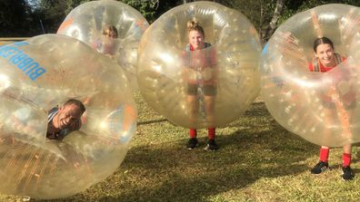 A bubble soccer champion!