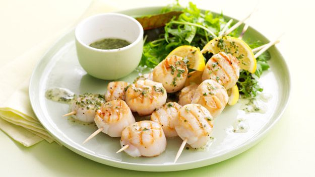 Lemon tarragon scallop skewers