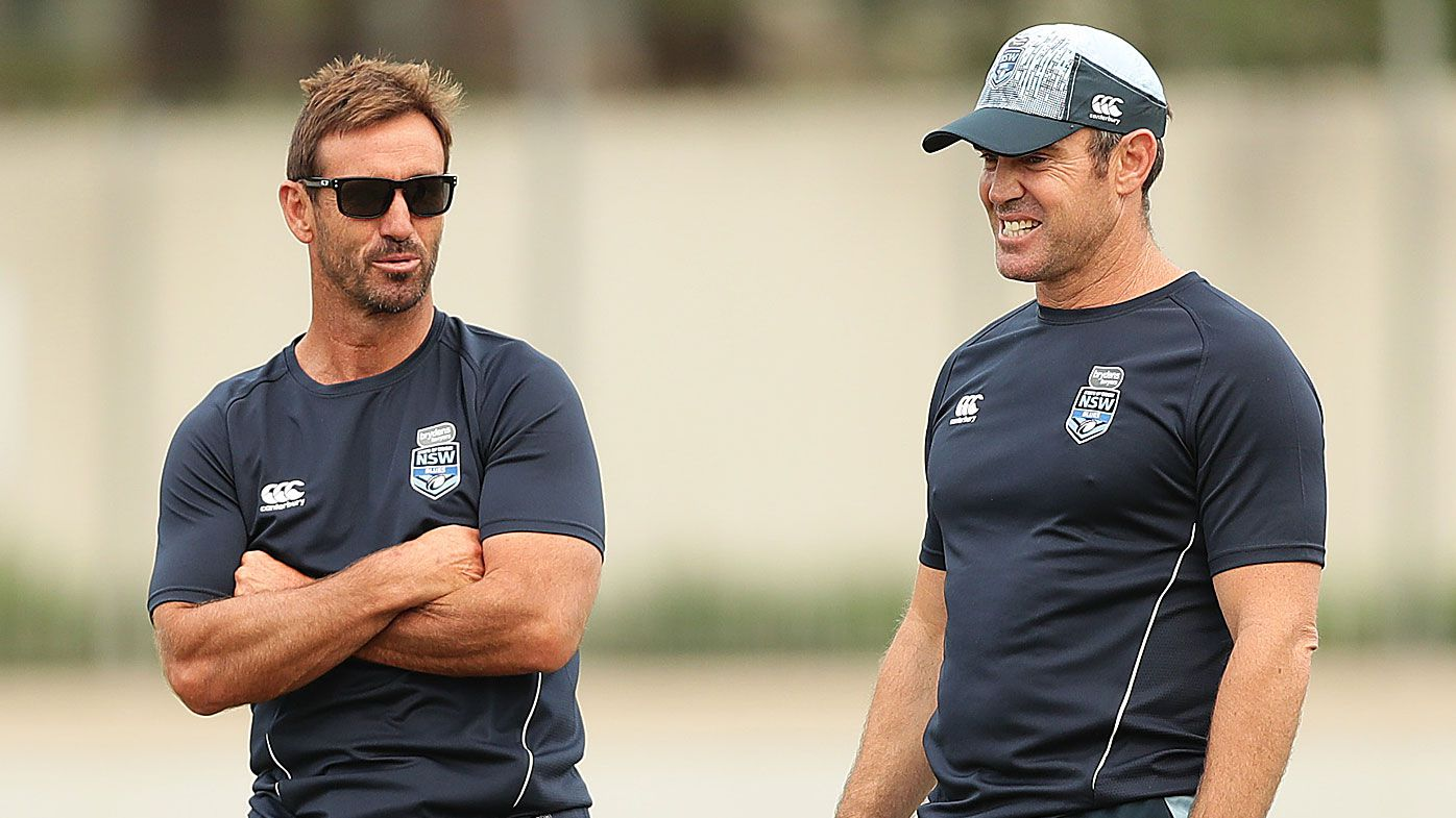 NSW Blues head coach Brad Fittler speaks to Andrew Johns