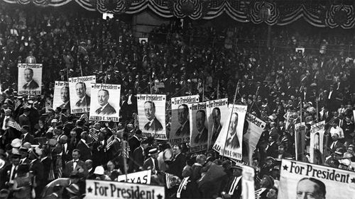 Posters for Al Smith at the viciously contested 1924 Democratic convention.