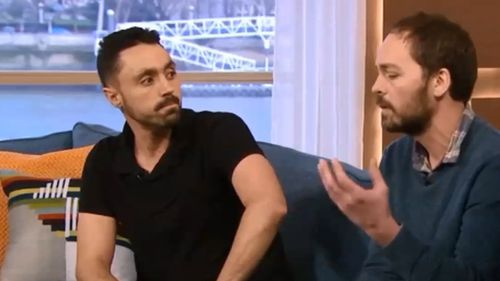 Joey Carbstrong and farmer Jonny Crickmore in a heated debate on This Morning. (ITV)