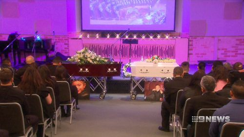 The pair was farewelled in a moving service. Picture: 9NEWS