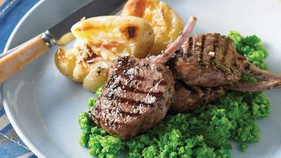 """Recipe: <a href=""""http://kitchen.nine.com.au/2016/08/01/15/35/barbecued-lamb-cutlets-with-minted-pea-mash-and-lemon-potatoes"""" target=""""_top"""">Barbecued lamb cutlets with minted pea mash and lemon potatoes</a>"""