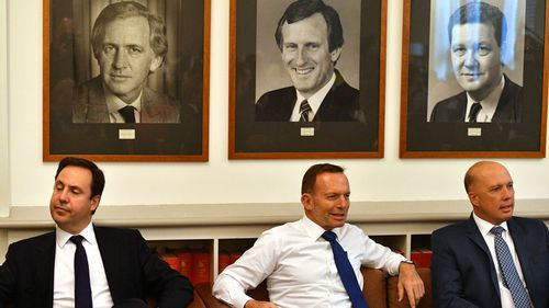 Minister for Defence Industry Steve Ciobo, Former prime minister Tony Abbott and Minister for Home Affairs Peter Dutton at a Coalition party room meeting at Parliament House in Canberra, Tuesday, September 11, 2018.