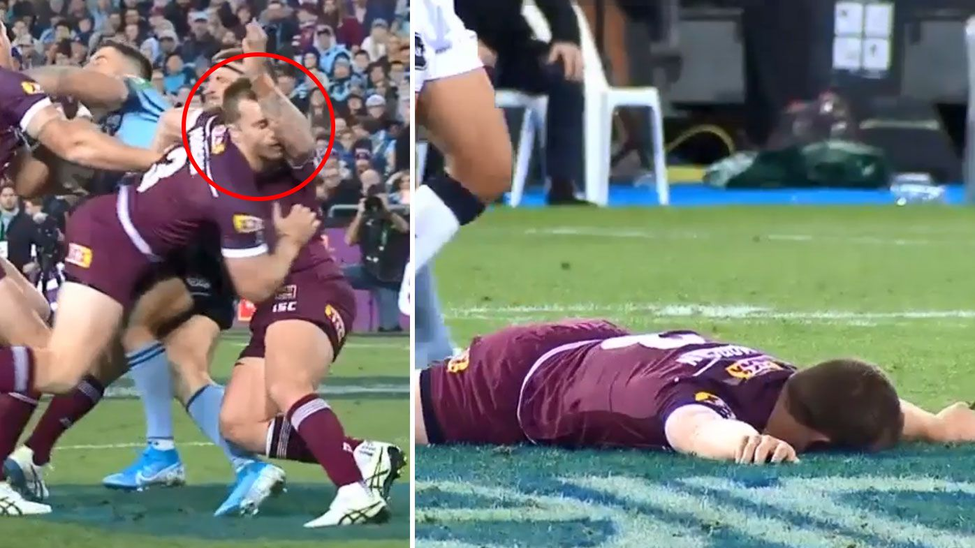 Morgan floored after colliding with McGuire's elbow