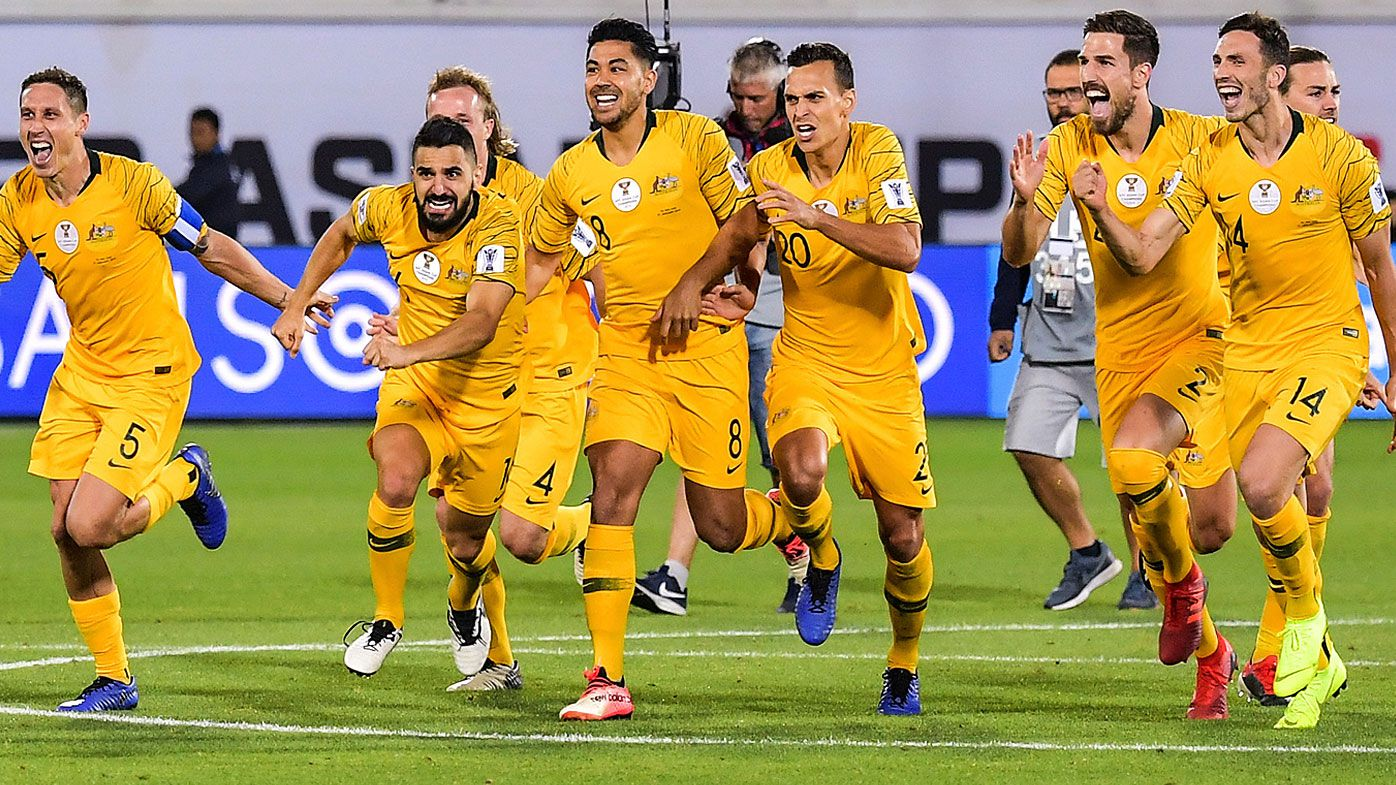 Socceroos celebrate victory against Uzbekistan in 2019 Asian Cup