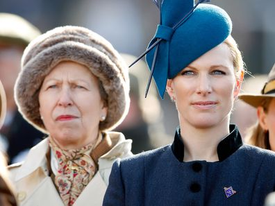 Princess Anne, Princess Royal and Zara Tindall watch the racing as they attend day 1 'Champion Day' of the Cheltenham Festival