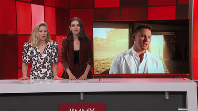 Mila Kunis and Kristen Bell try to get Channing Tatum to strip in a hilarious TV skit