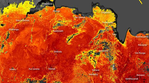 The sweltering temperatures in Siberia are captured in this satellite image.