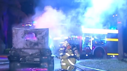 Emergency crews responded to the burning ute. (9NEWS)