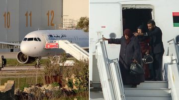 A group of hostages being released in Valletta, Malta, from the Afriqiyah Airways A320 after it was hijacked from Libya on December 23, 2016. (AFP)