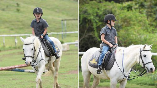 Sabastian takes riding lessons a month before receiving his new pony. (Facebook/Juliana Kent)