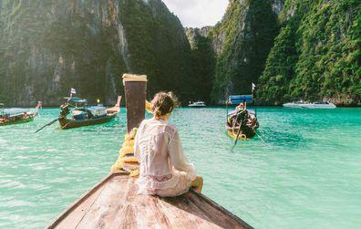 Phuket, Thailand, woman on a boat