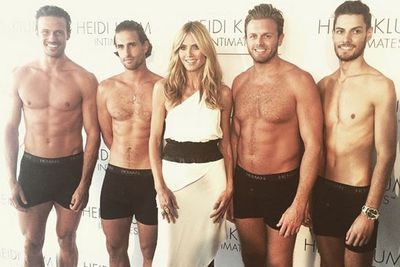 """Not a bad way to celebrate Australia Day!<br/><br/>@heidiklum: """"Happy Australia Day! Nice way to celebrate with these guys wearing HKman! @heidiklumintimates"""""""