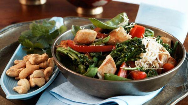 Chicken, Broccolini and Snow Pea Stir Fry