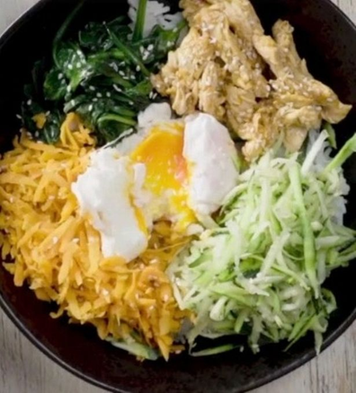 Poached egg chicken rice bowl