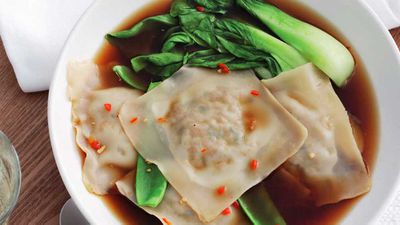 Ravioli with Asian greens
