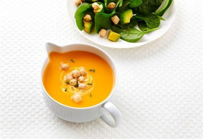 """Recipe:<a href=""""/recipes/ipumpkin/9116761/roasted-pumpkin-soup-with-avocado-and-spinach-salad"""">Roasted pumpkin soup with avocado and spinach salad</a>"""