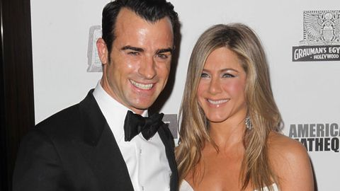Happy couple: Justin Theroux and Jennifer Aniston at an event last week.