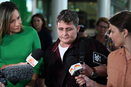 Renae Lawrence arrived home to a media scrum at Brisbane Airport at 6am.