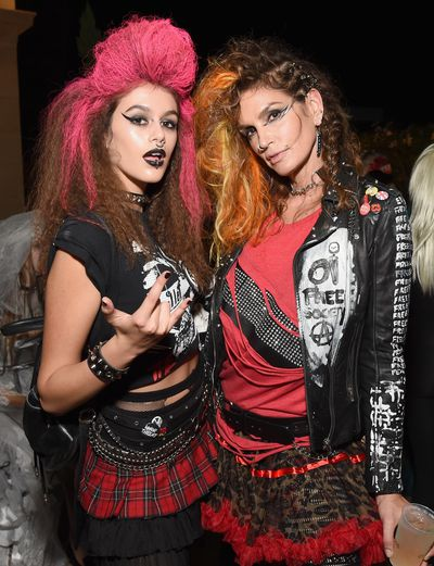 Punk hair, piercings and winged liner for Cindy Crawford and her daughter Kaia Jordan Gerber.
