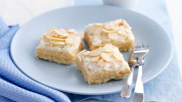 Lemon and coconut meringue slice