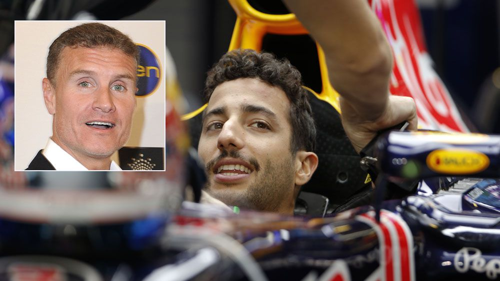 Daniel Ricciardo and (inset) David Coulthard. (AAP)