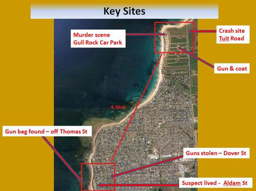 Police have released this map of the crucial sites in the investigation. (SA Police)