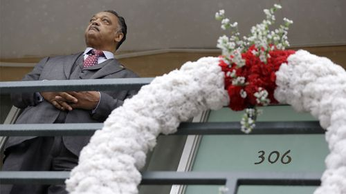Reverend Jesse Jackson stands on the motel balcony where the Reverend Martin Luther King Jr was assassinated on April 4, 1968, in Memphis, Tennessee. King was staying in room 306 and Jackson was at the motel with King when the assassination took place. (AAP)