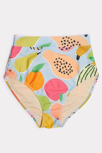 """<a href=""""https://www.missguidedau.com/"""" target=""""_blank"""">Gorman Fruity High Rise Bikini Bottom, $99.</a>"""