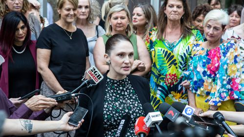 Shine Lawyers' Class Actions Practice Leader, Rebecca Jancauskas, speaks to the media after Johnson & Johnson lost its pelvic mesh case in 2019. The case is now subject to an appeal by the manufacturing giant.