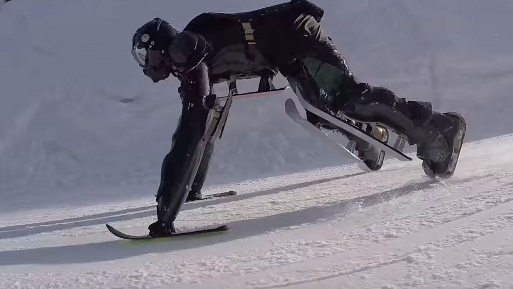 Frenchman hits the slopes in bizarre ski suit