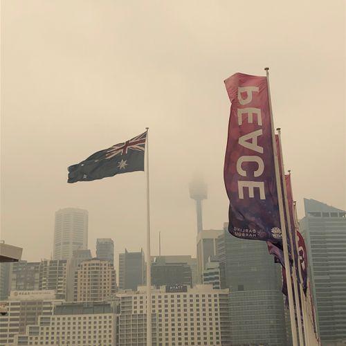 Bushfire smoke shrouds Sydney Harbour on December 10, 2019.
