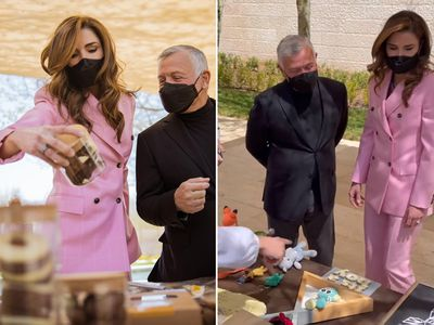 Queen Rania's pink powersuit moment, March 2021