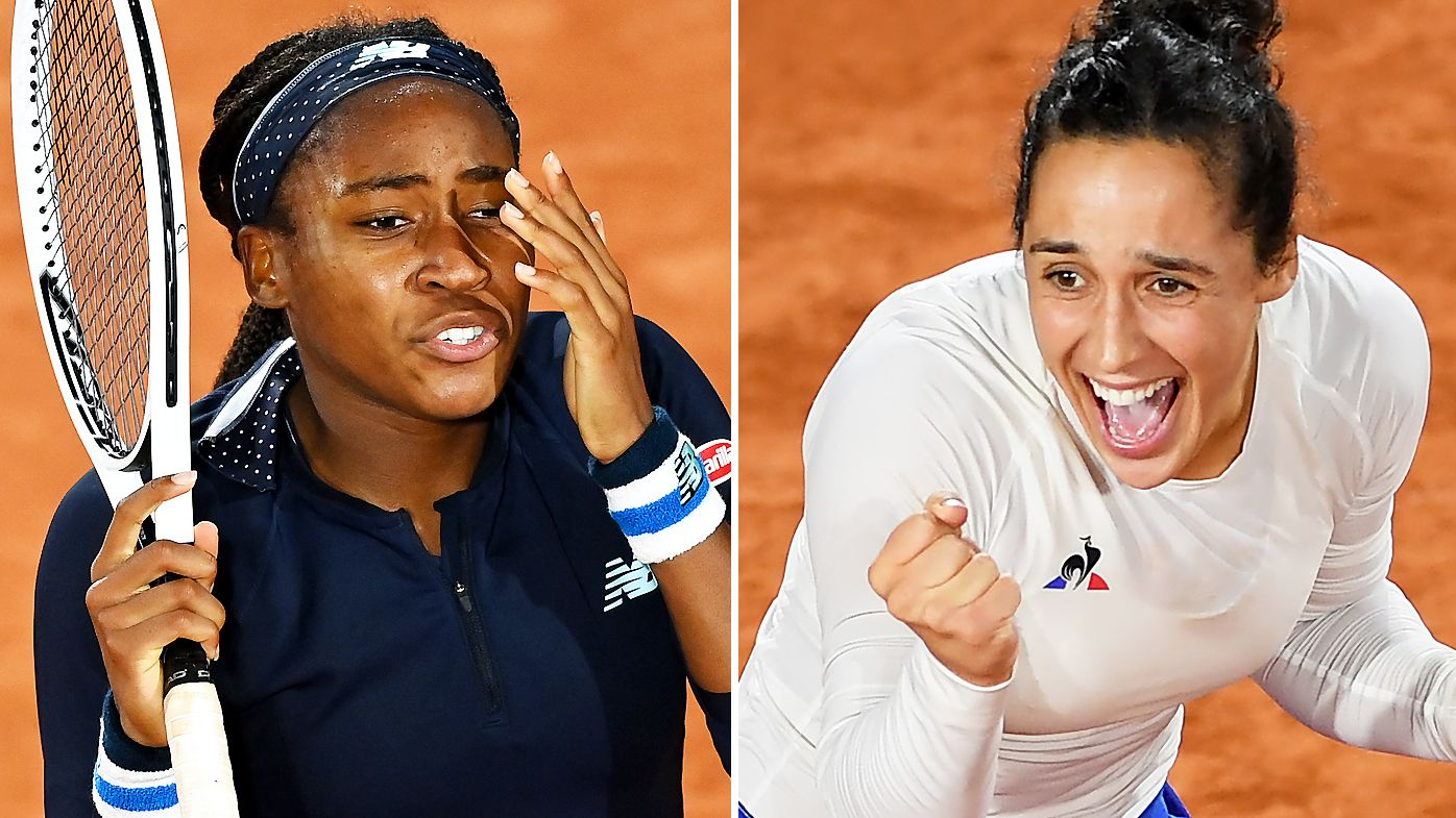 Cori Gauff reacts during her Women's Singles second round match against Martina Trevisan